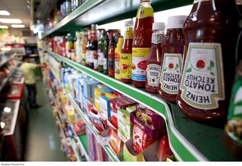 Heinz Ketchups are displayed in a grocery store in downtown Tehran, Iran, July 10, 2019.