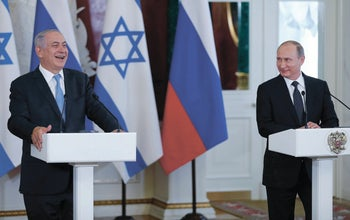 Russian President Vladimir Putin and Israeli Prime Minister Benjamin Netanyahu after talks in the Kremlin on expanding their cooperation in the fight against terrorism. Moscow, Russia, June 7, 2016