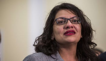 Rep. Rashida Tlaib (D-MI) speaks during a press conference preceding a House Oversight and Reform subcommittee hearing on Capitol Hill in Washington, DC, July 10, 2019.