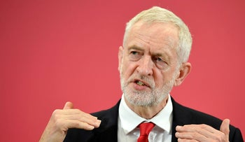 Britain's opposition Labour Party leader Jeremy Corbyn speaks at the launch of Labour's European election campaign in Kent, Britain, May 9, 2019.