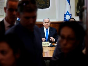Israeli Prime Minister Benjamin Netanyahu chairs the weekly cabinet meeting at his office in Jerusalem, on June 30, 2019