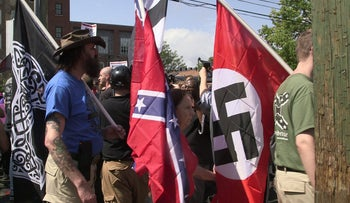 Neo-Nazis march at a 'Unite the Right' protest in Charlottesville, August 12, 2019