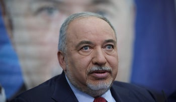 Former Defense Minister Avigdor Lieberman speaks to journalists during a press conference in Tel Aviv, Israel, May 30, 2019.