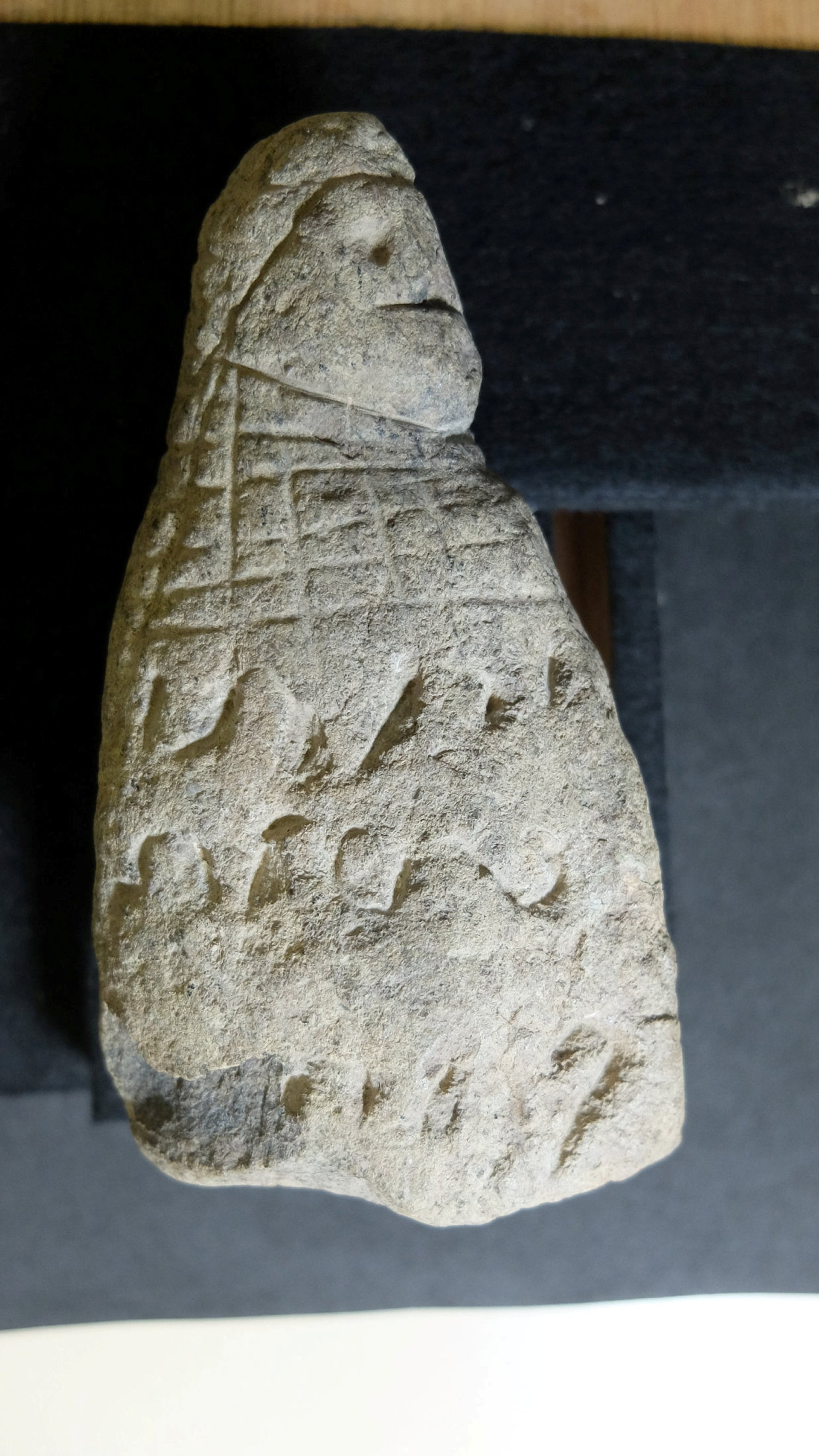 Serpentine figurine with an inscription in an unknown form of writing, found in Puerto Rico