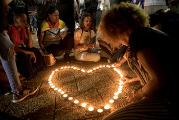 Memorial gathering for Solomon Teka, 18, an Ethiopian Israeli who was shot by an Israeli police officer on June 30, in Tel Aviv, July 8, 2019