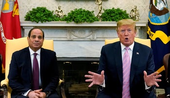 U.S. President Donald Trump speaks while meeting with Egypt's President Abdel Fattah al-Sisi in the Oval Office at the White House in Washington, U.S., April 9, 2019.