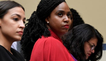 Rep. Alexandria Ocasio-Cortez, Rep. Ayanna Pressley, center, and Rep. Rashida Tlaib, right, attend a House Oversight Committee hearing on Capitol Hill in Washington, on Monday, July 15, 2019.