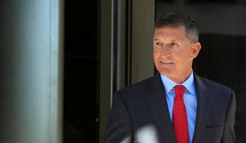 Former Trump national security adviser Michael Flynn leaves the federal courthouse in Washington, following a status hearing, July 10, 2018.