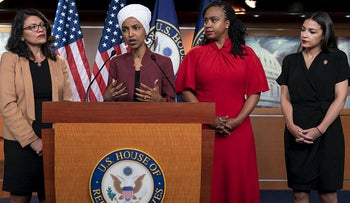 "From left, U.S. Reps. Rashida Tlaib, D-Mich., Ilhan Omar, D-Minn., Ayanna Pressley, D-Mass., and Alexandria Ocasio-Cortez, D-N.Y., respond to base remarks by President Donald Trump after he called for four Democratic congresswomen of color to go back to their ""broken"" countries, as he exploited the nation's glaring racial divisions once again for political gain, during a news conference at the Capitol in Washington, Monday, July 15, 2019"