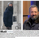 Ehud Barak's picture published by the Daily Mail in which he is seen entering Jeffrey Epstein's New York home with his face concealed.