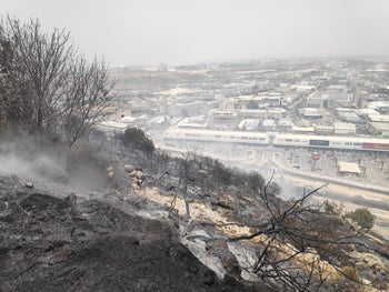 A fire that was extinguished at Wadi Ara near Haifa, July 17, 2019.