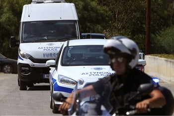 Police vehicles in Nicosia, Cyprus, June 24, 2019.