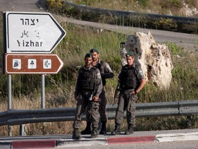 Israel Border Police at the entrance of the settlement of Yitzhar, August 12, 2014.