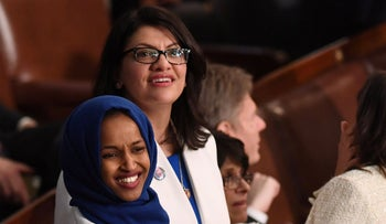 Ilhan Omar and Rashida Tlaib attend the State of the Union address, Washington D.C., February 5, 2019.