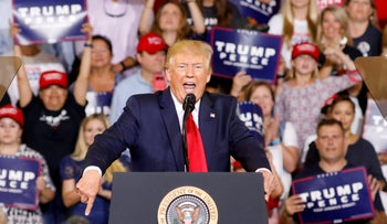 Donald Trump speaks at a campaign rally in Greenville, North Carolina, July 17, 2019.