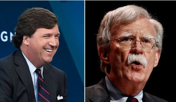 Fox News host Tucker Carlson, left, and National Security Adviser John Bolton.