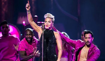 US singer Pink performs on the stage of the Paris-La Defense Arena during a concert as part of her 'Beautiful Trauma World Tour 2019', in Nanterre, near Paris, on July 3, 2019