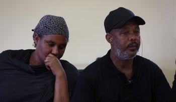 The parents of Solomon Teka, the teen killed by a police officer, meet with lawyers at Bar Ilan University, July 18, 2019.
