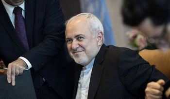 Mohammad Javad Zarif, the foreign minister of Iran, arrives for a meeting with UN Secretary-General Antonio Guterres at United Nations headquarters in New York, July 18, 2019.