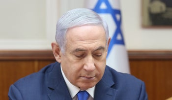 Prime Minister Benjamin Netanyahu at a government meeting, March 17, 2019.