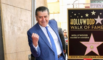 """Haim Saban, creator of the """"Power Rangers,"""" poses at a ceremony honoring him with a star on the Hollywood Walk of Fame, March 22, 2017ץ"""
