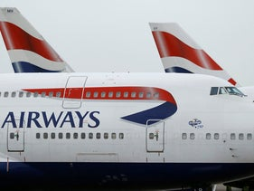 British Airways planes parked at Heathrow Airport in London, January 2017.