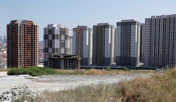 New buildings under construction next to the Innovia 4 project of Yesil GYO, in the western Esenyurt district of Istanbul, Turkey, July 8, 2019.