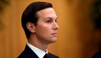Jared Kushner listens as he attends a working breakfast on the sidelines of the G-20 summit in Osaka, Japan, June 29, 2019.