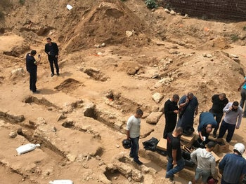 Graves unearthed during an Israel Antiquities Authority salvage dig at the site of the Al-Isaaf cemetery in Jaffa, slated to be the site of a shelter for homeless people, in 2018.
