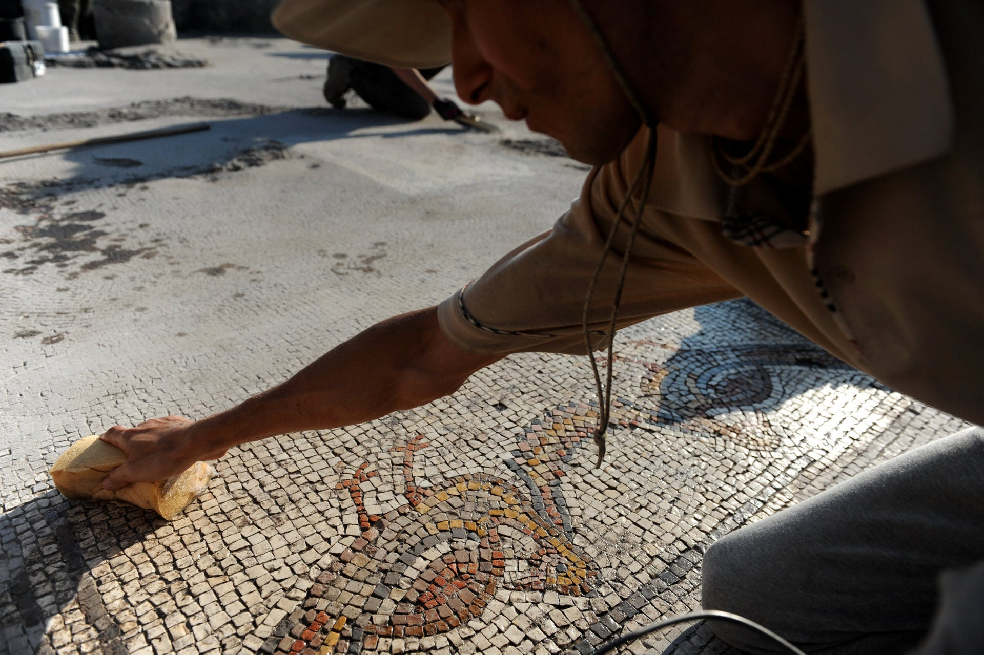 Cleaning a mosaic of beautiful birds of undetermined species.
