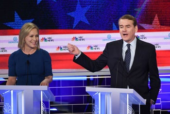 Sen. Michael Bennet speaking during the second Democratic primary debate of the 2020 presidential campaign season, next to Sen. Kirsten Gillibrand, in Florida, June 27, 2019.