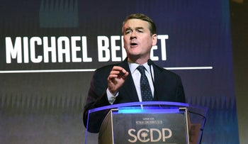 Sen. Michael Bennet addressing the South Carolina Democratic Party convention in Columbia, June 22, 2019.