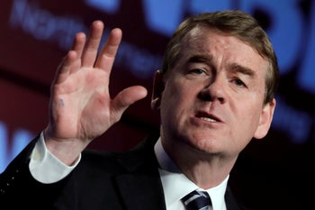 Democratic presidential candidate Sen. Michael Bennet speaking in Washington, April 10, 2019.