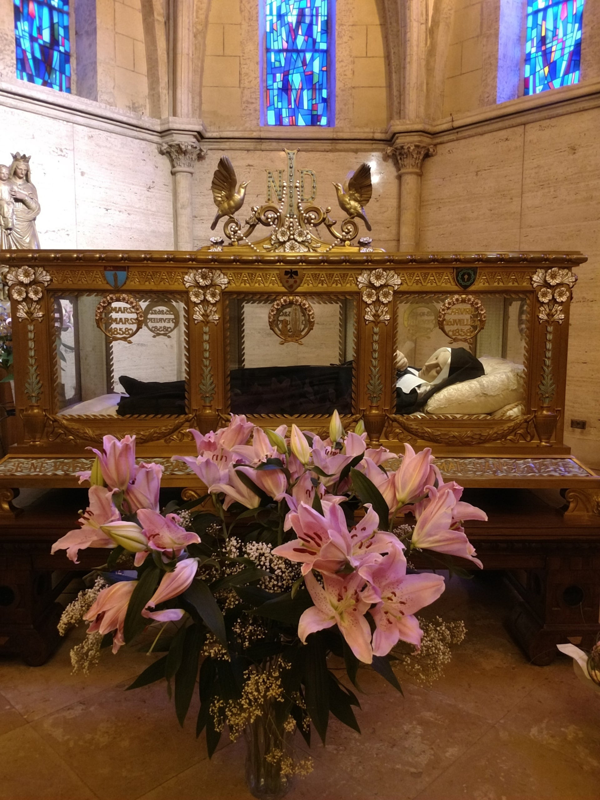 St. Bernadette's  allegedly incorrupt body on display in Nevers, France.