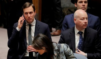 White House senior adviser Jared Kushner and Jason Greenblatt at a UN Security Council meeting in New York, February 20, 2018.