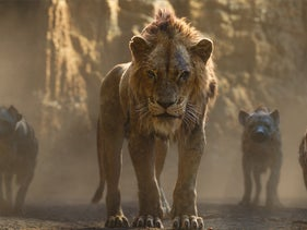 "Scar, voiced by Chiwetel Ejiofor, center, in a scene from ""The Lion King."""