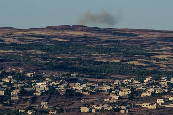 The village of Hader as seen from the Israeli border, Golan Heights, 2015.