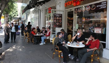 People sitting at a cafe.
