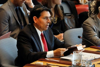 Israel's Ambassador Danny Danon speaks in the Security Council, at United Nations headquarters, Monday, April 29, 2019.