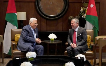 Jordanian King Abdullah II meeting with Palestinian president Mahmud Abbas in the capital Amman. July 24, 2019