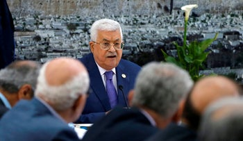 Abbas attends a meeting with the Palestinian leadership in Ramallah on July 25, 2019.