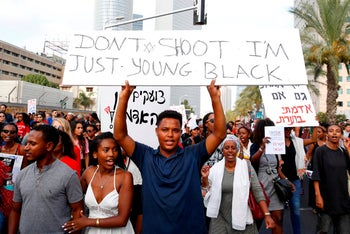 Israelis of Ethiopian origin protesting in Tel Aviv on July 8, 2019, after the death of a young man of Ethiopian origin near the Israeli city of Haifa on June 30.
