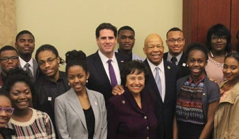 Elijah Cummings, Ron Dermer and participants of the Cummings Youth Program in Israel, February 2016.