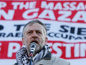 Then-MP Jeremy Corbyn joins Palestinian demonstrators in London's Trafalgar Square along with estimated 15,000 protesters marching against Israel's bombing of Gaza. Jan 3, 2009
