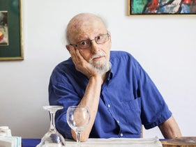 Poet Tuvia Ruebner, at his home in Kibbutz Merhavia, Israel, 2016.