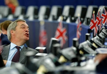 Brexit Party leader Nigel Farage attends a debate at the European Parliament in Strasbourg, July 4, 2019.