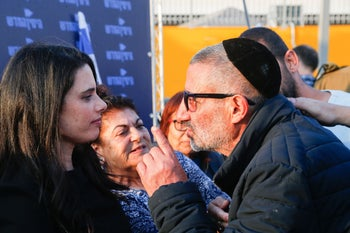 Then-Justice Minister Ayelet Shaked on a tour of south Tel Aviv on April 2, 2019, to address the issue of asylum seekers in the neighborhood.