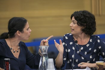 Lawmakers Ayelet Shaked and Tamar Zandberg clashing in the Knesset Finance Committee, November 2014.