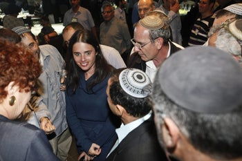 Ayelet Shaked attending a National Religious Party conference in June 2012, prior to reshaping the party into Habayit Hayehudi alongside Naftali Bennett.