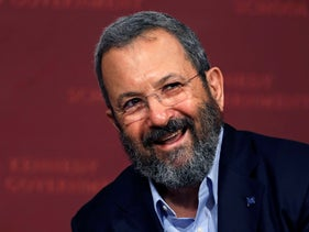Ehud Barak  during a lecture at the John F. Kennedy School of Government at Harvard University in Cambridge, Massachusetts, September 21, 2016.
